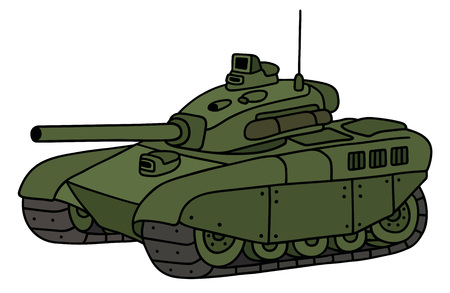 turret: Hand drawing of a funny green heavy tank Illustration