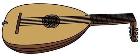 stringed: Hand drawing of an classic lute Illustration