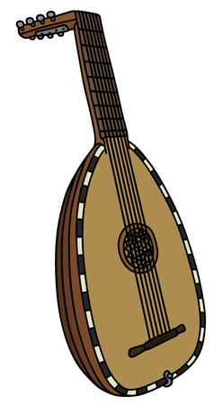 lute: Hand drawing of a historical lute