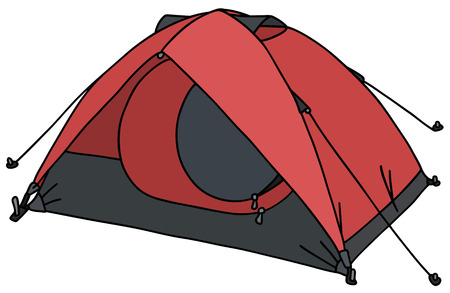 penthouse: Hand drawing of a present red tent