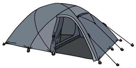 penthouse: Hand drawing of a present gray tent