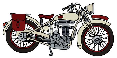 Hand drawing of a vintage white strong motorcycle