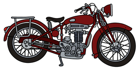 Hand drawing of a classic red motorcycle