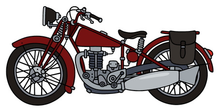 Hand drawing of a vintage red motorcycle