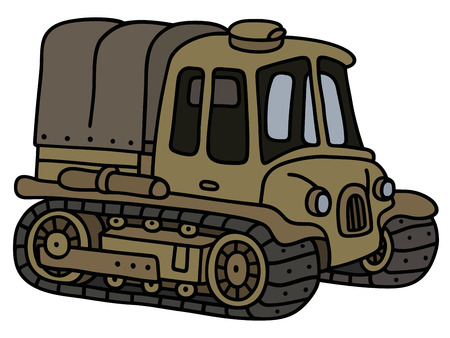 crawler tractor: Funny classic sand artillery tractor