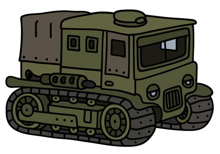 tracked: Funny vintage military tracked transporter Illustration