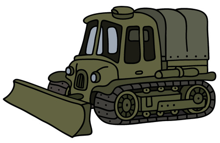 Funny old khaki artillery tractor with a Ploughshare