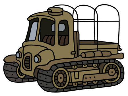 crawler tractor: Hand drawing of a funny old sand artillery tractor