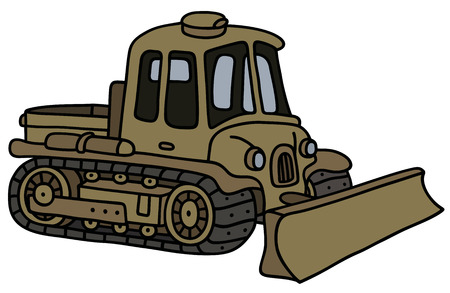 crawler tractor: Funny classic military tracked vehicle with the Ploughshare