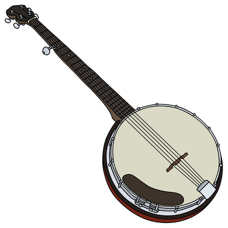 stringed: Hand drawing of a classic five string banjo Illustration