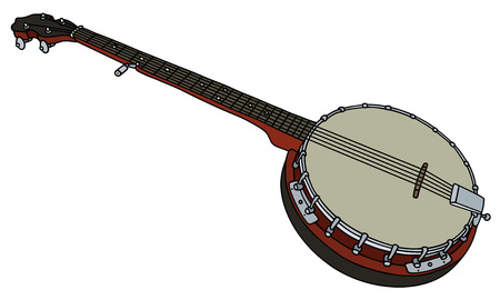 Hand drawing of a classic five string banjo Illustration