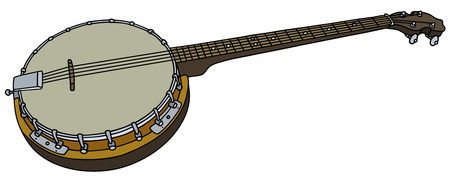 Hand drawing of an old four string banjo