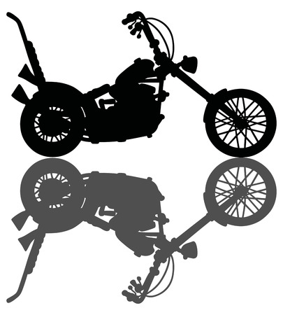 Hand drawing of a classic black chopper silhouette