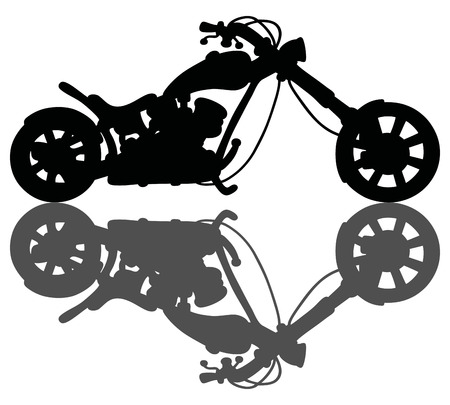 Silhouette of the chopper with the heavy shadow Vector Illustration