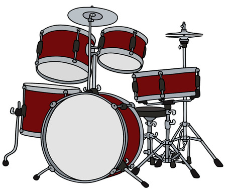 steel drum: Hand drawing of a big red percussion