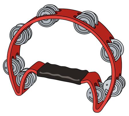 pandero: Gráfico de la mano de una pandereta roja