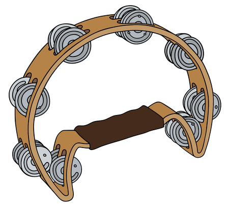 tambourine: Hand drawing of a wooden tambourine Illustration