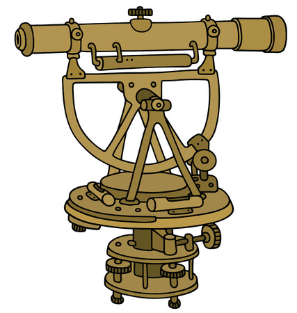 Hand drawing of a historical brass theodolite