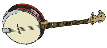 Hand drawing of a classic red four strings banjo
