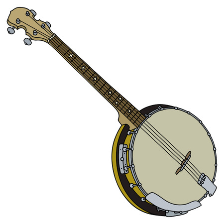 Hand drawing of a classic four strings banjo