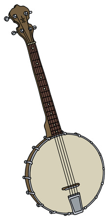 Hand drawing of a vintage four strings banjo
