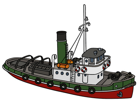 Hand drawing of an old tugboat - not a real type Illustration