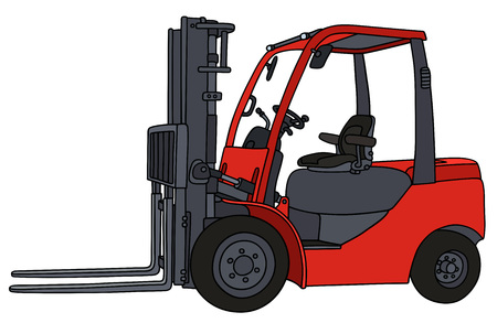 forklifts: Hand drawing of a red hydraulic forklifts