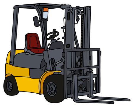forklifts: Hand drawing of a yellow hydraulic forklifts