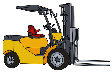 forklifts: Hand drawing of a yellow forklifts