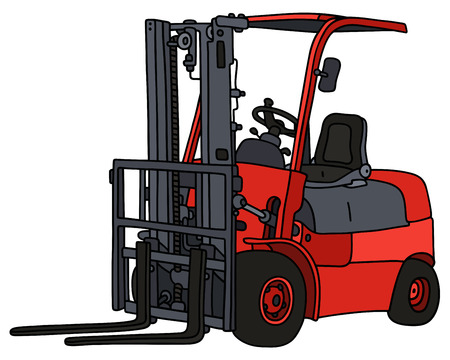 forklifts: Hand drawing of a red forklifts