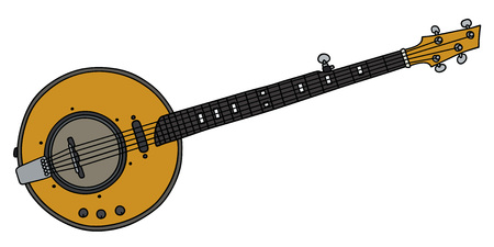 Hand drawing of a yellow electric five strings banjo