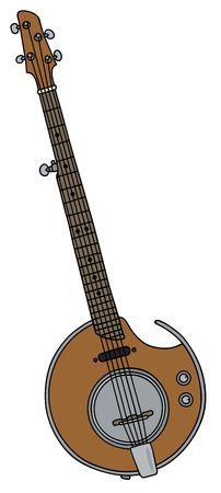 Hand drawing of a modern electric five strings banjo