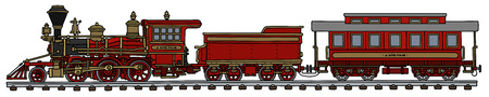 Old american red steam train Illustration