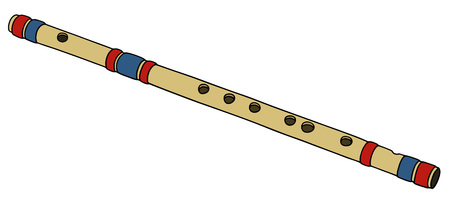 fife: Hand drawing of a bamboo flute Illustration