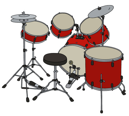 steel drum: Hand drawing of a red percussion set Illustration