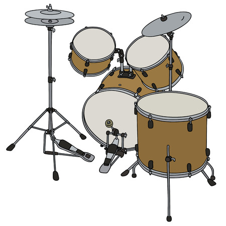 steel drum: Hand drawing of a big golden percussion set