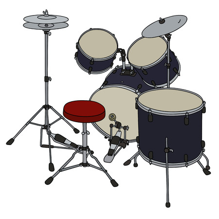 steel drum: Hand drawing of a dark blue percussion set Illustration