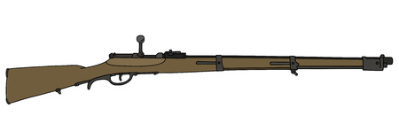 vintage rifle: Hand drawing of a vintage military rifle Illustration