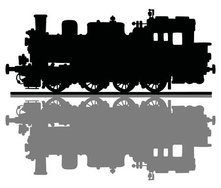 steam locomotive: Black silhouette of a vintage steam locomotive Illustration