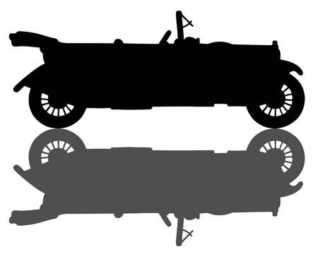 cabriolet: Black silhouette of a vintage cabriolet