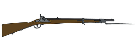 Old military matchlock rifle with the bayonet Illustration