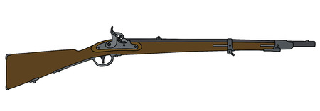 Hand drawing of a historical military rifle