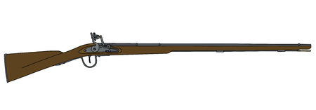 vintage rifle: Hand drawing of a historical long matchlock rifle