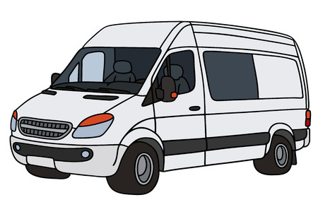 Hand drawing of a white van