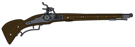 mosquetero: Gráfico de la mano de un fusil de chispa histórica Vectores