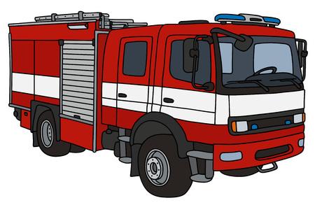 Dessin à la main d'un camion de pompier Banque d'images - 70777852