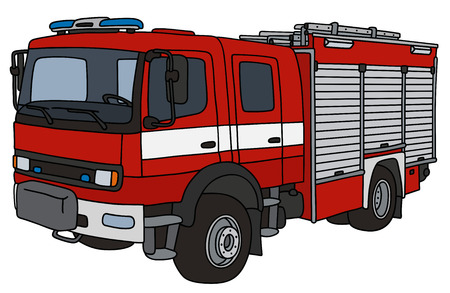 Hand drawing of a firetruck Stock Illustratie