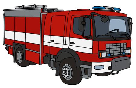 Dessin à la main d'un camion de pompier Banque d'images - 70778077