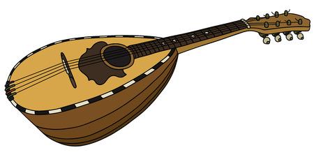 tremolo: Hand drawing of a classic mandolin Illustration