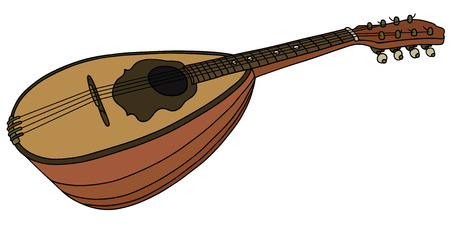 Hand drawing of a classic mandolin Vettoriali